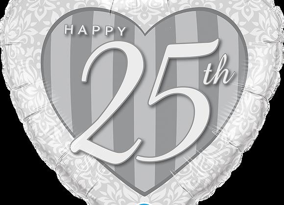 25th Anniversary Heart - Qualatex Small Foil Balloon