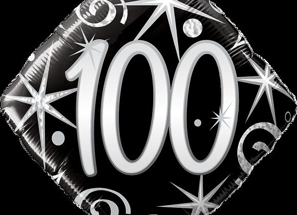 Diamond - 100 - Silver and Black - Qualatex Small Foil Balloon