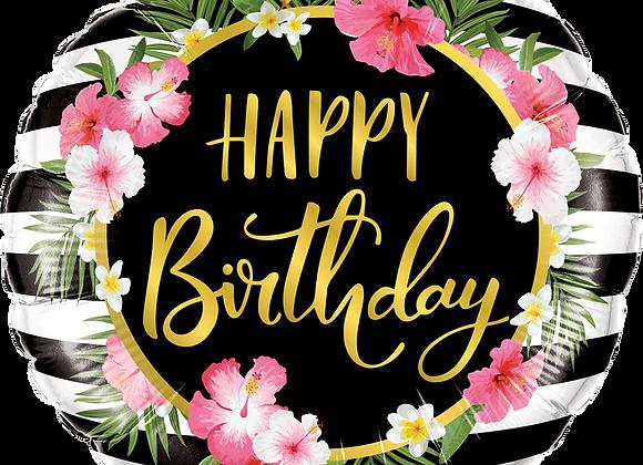 Happy Birthday - Hibiscus Stripes - Qualatex Small Foil Ballo