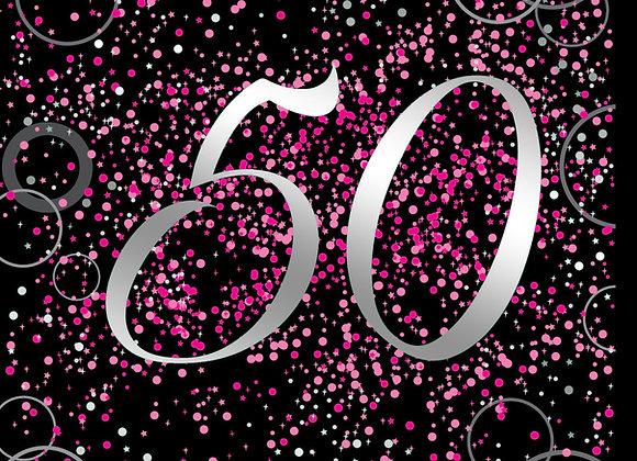 Foil Glitz 50 Pink - Napkins - Unique