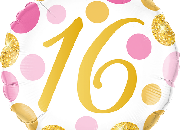 Gold and Pink 16 - Qualatex Small Foil Balloon