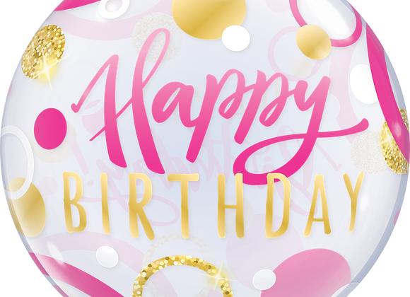 Happy Birthday - Pink and Gold - Qualatex Bubble Balloon