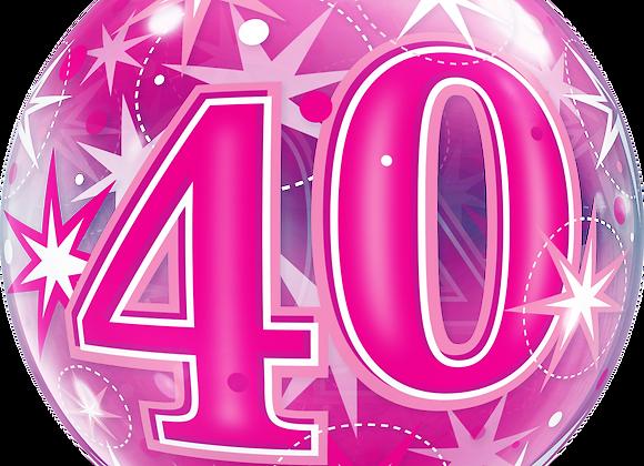 40 Pink Starburst Sparkle - Qualatex Bubble Balloon