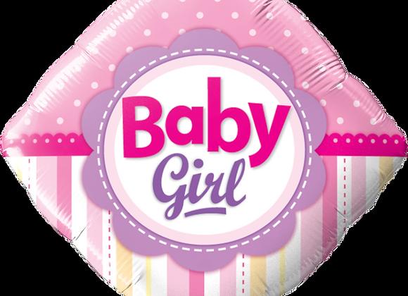 Baby Girl - Pink - Diamond - Qualatex Small Foil Balloon