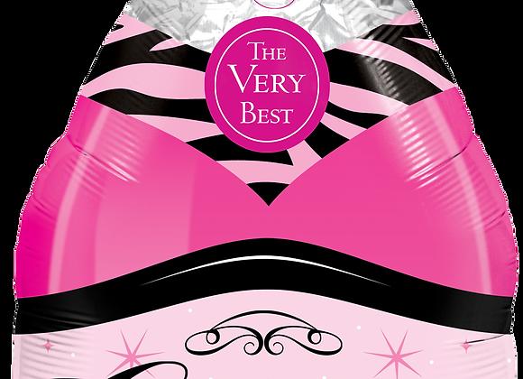 Pink bottle of Champagne Bottle - Qualatex Large Foil Balloon