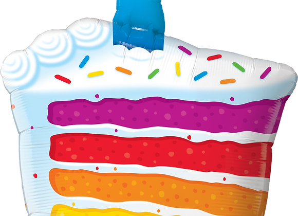 Rainbow Cake and Candle - Qualatex Large Foil Balloon