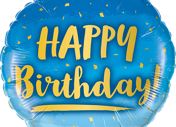 Happy Birthday - Blue - Qualatex Small Foil Balloon
