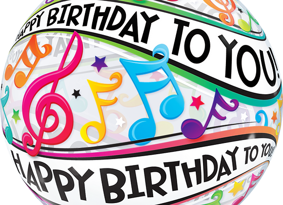 Happy Birthday To You Music Notes - Qualatex Bubble Balloon