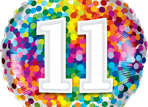 Rainbow Confetti - 11 - Qualatex Small Foil Balloon