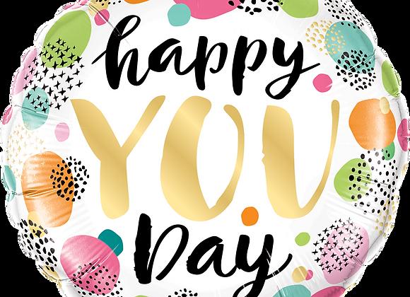 Happy You Day - Multicoloured - Qualatex Small Foil Balloon