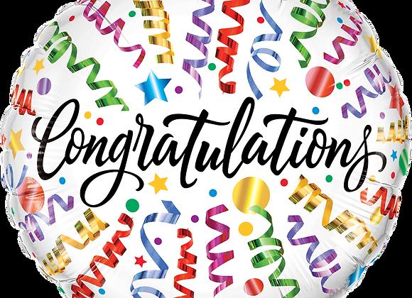 Congratulations Streamers - Qualatex Small Foil Balloon