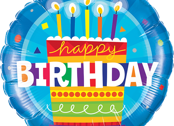 Happy Birthday - Cake and Candles - Blue - Qualatex Small Foil Balloo