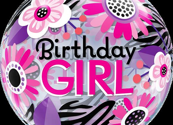 Birthday Girl - Black and Purple - Qualatex Bubble Balloon