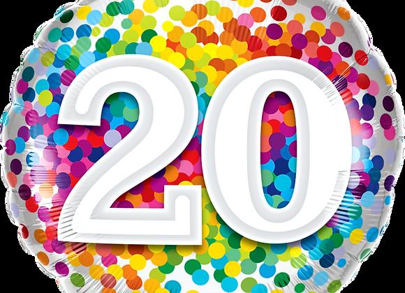 Rainbow Confetti - 20 - Qualatex Small Foil Balloon