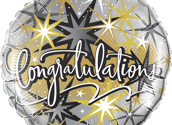 Congratulations - Black Silver and Gold -  Qualatex Small Foil Balloon