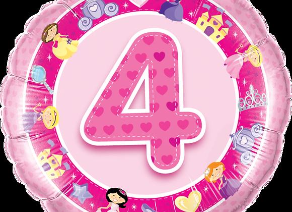 Princesses -  4  - Pink - Qualatex Small Foil Balloo