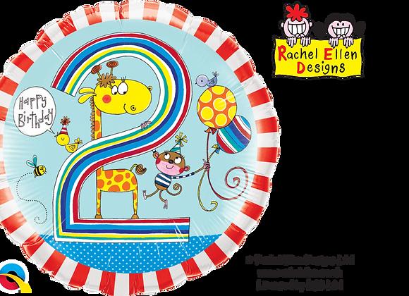 Rachel Ellen - Giraffe and Monkey - 2 - Qualatex Small Foil Balloon
