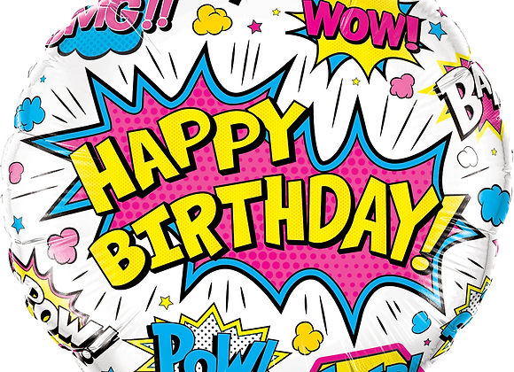 Happy Birthday Super Power - White - Qualatex Small Foil Balloon