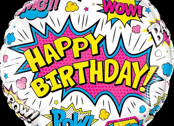 Happy Birthday Super Power - White - Qualatex Small Foil Balloon