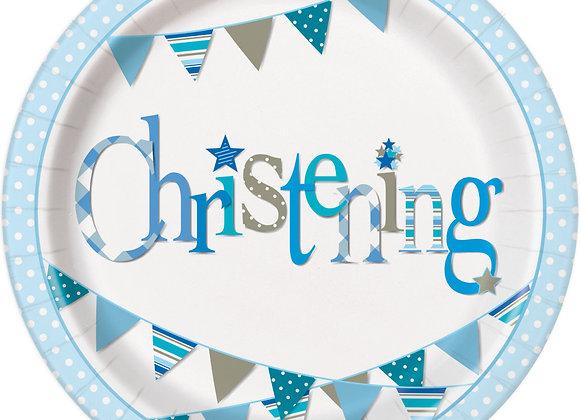 Plates - Blue Bunting Christening