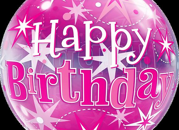 Birthday Pink Starburst Sparkle - Qualatex Bubble Balloon