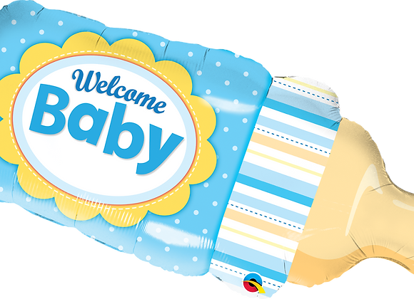 Welcome Baby Bottle - Blue - Qualatex Large Foil Balloon