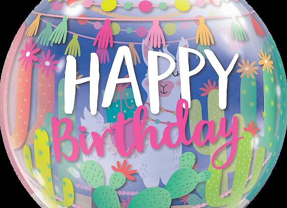 Llama Birthday Party - Qualatex Bubble Balloon
