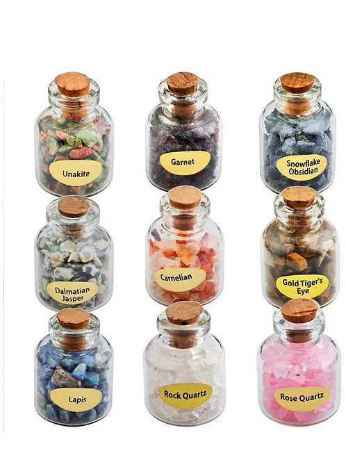 Wishing bottles+healing crystals