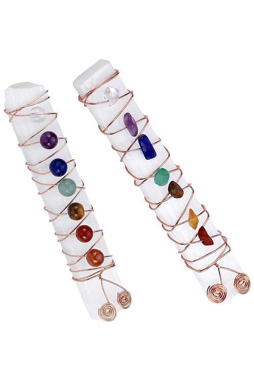 Chakra Reiki Healing Crystal Copper Wire Wraped Raw Selenite Stic