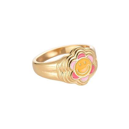 """""""Happy Flower"""" Edelstahl Ring"""
