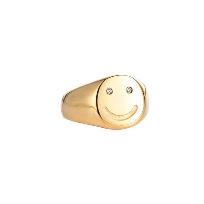 """Crystal Smile Gold"" Ring"