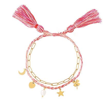 """Bohemian Charms Rosa"" Armband"