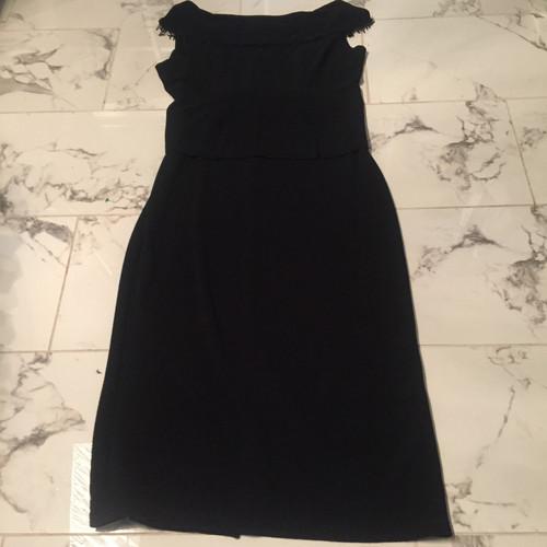 ab8d8bbbf94de NICOLE STUDIO NEW YORK BLACK EVENING DRESS BEADED/FRINGE COLLAR 14