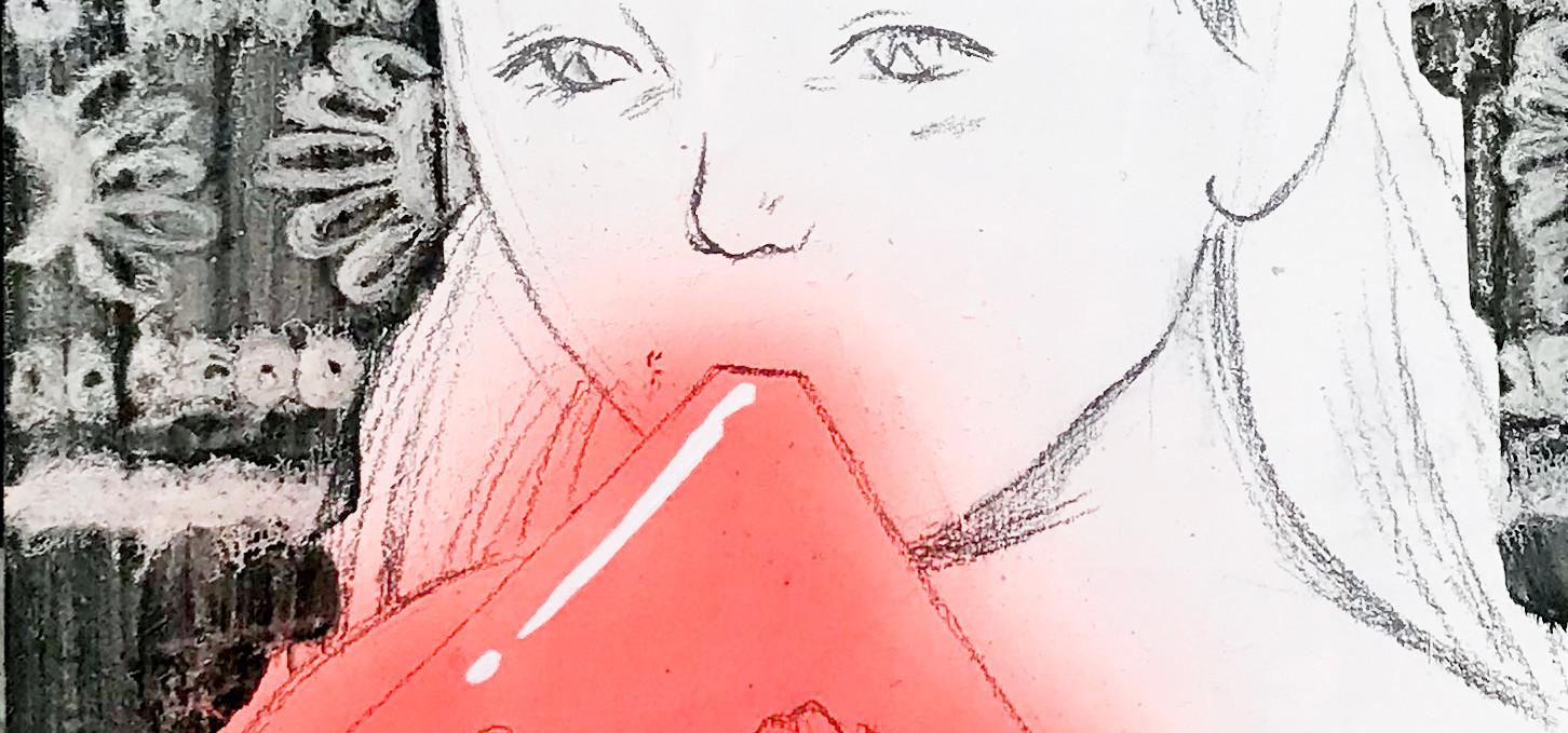 색을 먹는 아이2_합판에 유화 스프레이_28.5cm x 31cm_2018