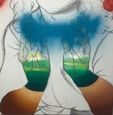 Hands of the nature, 캔버스에 유화와 스프레이, 45cm