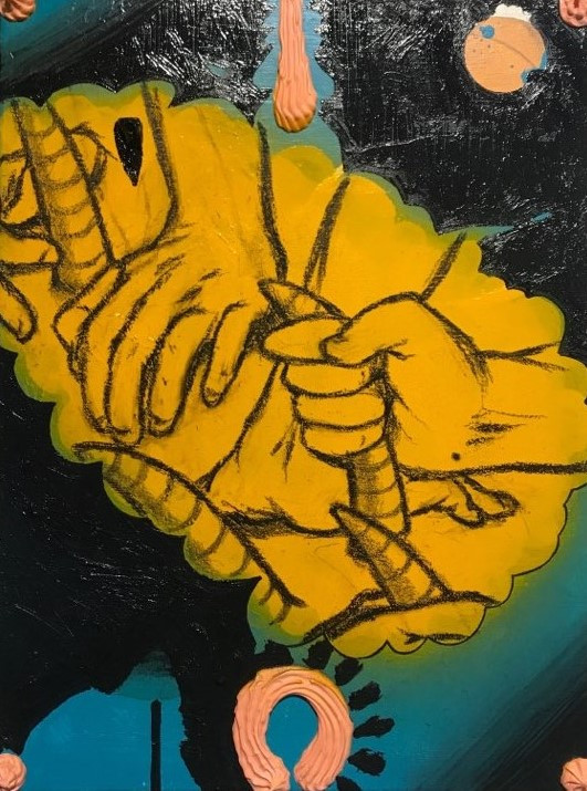 사티로스의 뿔, 캔버스에 유화와 아크릴 스프레이, 40.5cm x 30.