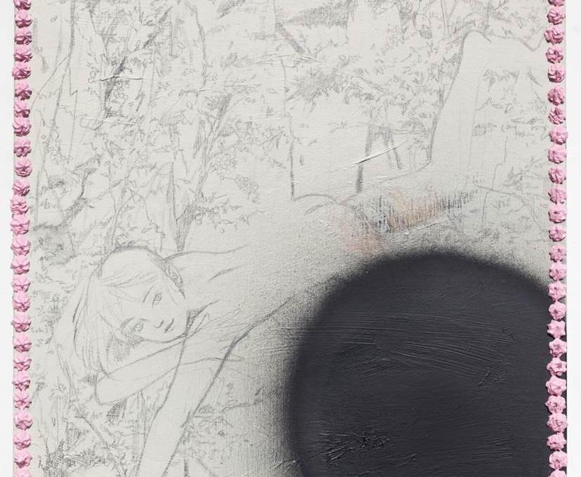 산골짜기에서의 늦은 놀이_캔버스에 연필 아크릴 스프레이_65cm x 53