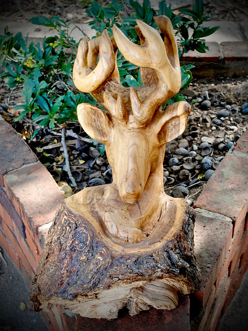 Hand-Carved Stag Bust