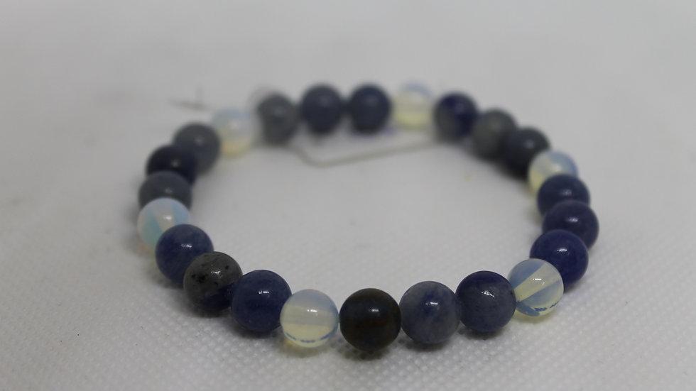 Bracelet aventurine bleu et opalite