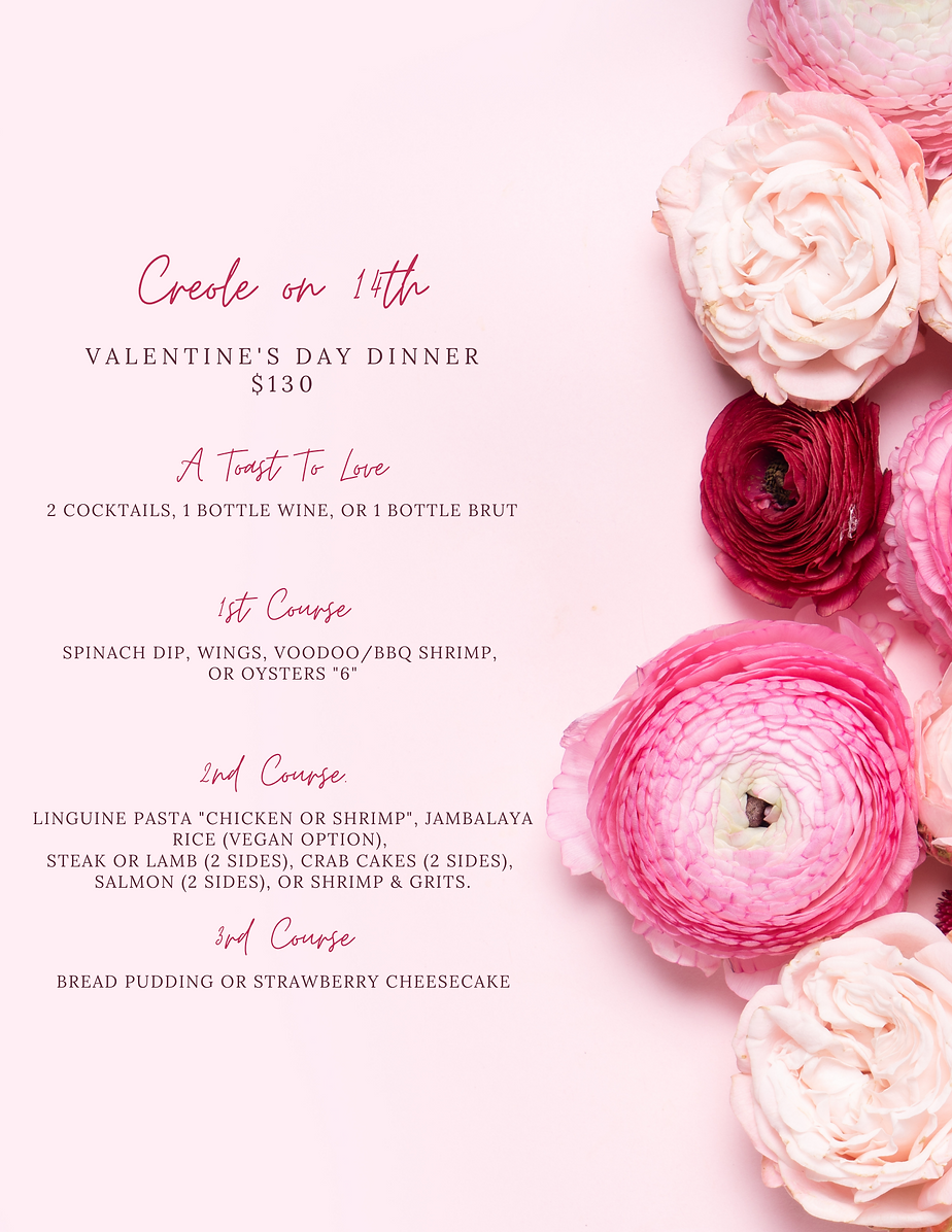 Creole on 14th's Valentine's Day Menu.pn
