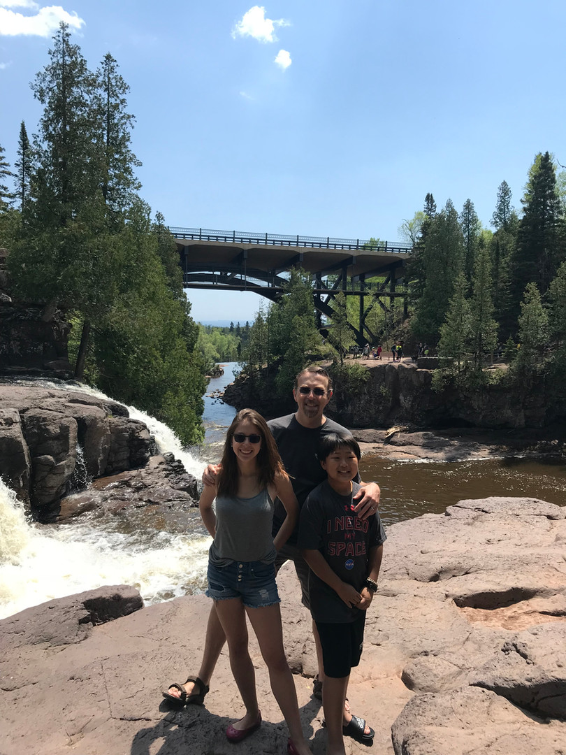 Enjoying nature at Gooseberry Falls, one of our favorite places.