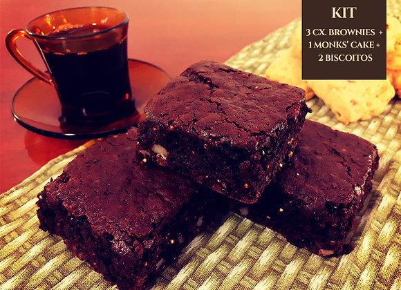 Kit: 3 caixas de Brownies de Chocolate + 1 Monk´s Cake+ 2 Biscoitos