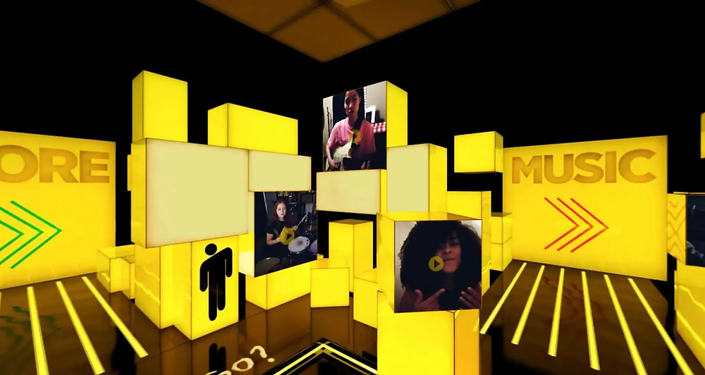 """A live virtual concert screenshot of Maestro's interactive rooms with a """"Fans"""" area featuring fan art and song covers by fans."""