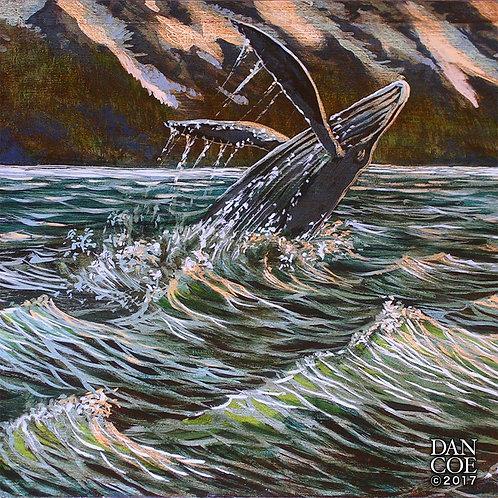 Humpback Whale 4in X 4in Vinyl Sticker