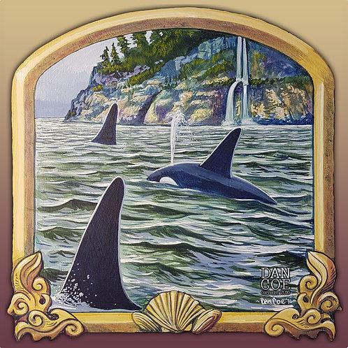 Orcas 4in X 4in Vinyl Sticker