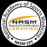 Logo of National Academy of Sports Medicine NASM Certification symbol for Greg Ragni of Massage Garage showing he is a Certified Personal Trainer CPT.
