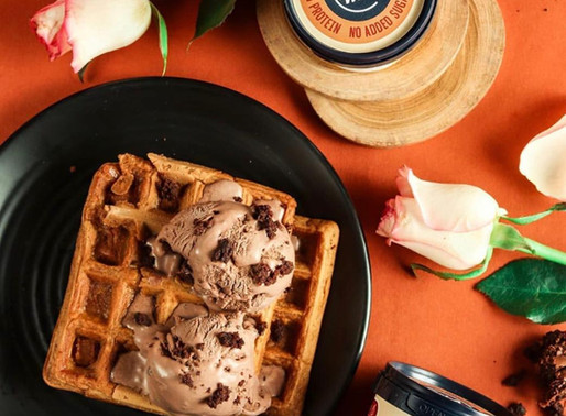 Gluten-free waffles topped with Chocolate Brownie Fudge