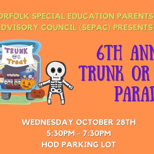 6th Annual Norfolk SEPAC Trunk or Treat Car Parade!