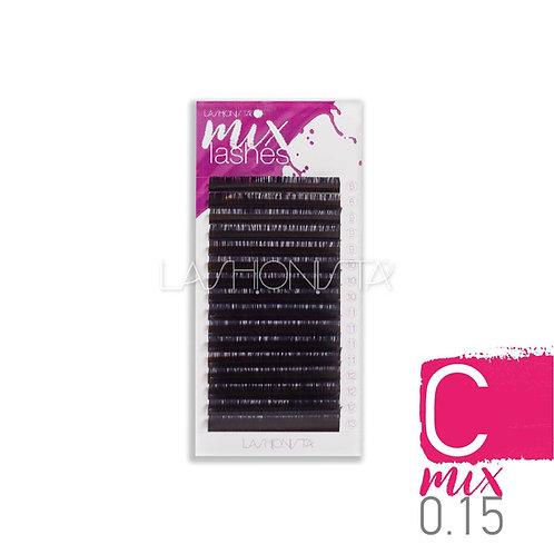 Lashionista, Eyelash Extension, C, Mix 0.15mm Μεικτά νούμερα extension Βλεφαρίδες καμπυλότητας C- μαύρο χρώμα (16 σειρές)