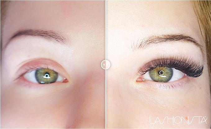 πριν και μετα εξτενσιον βλεφαριδες   Lashionista